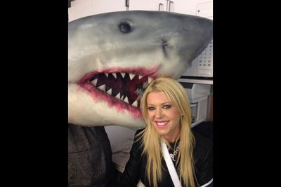 "Tara Reid: ""#sharknado2 help me! Lol.""<br/><br/>(Image: @TaraReid/Twitter)"