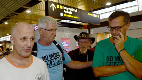 Catholic church child abuse survivors (L-R) Andrew Collins, Phil Nagle, Gordon Hill and David Risdale after travelling to Rome to meet with Cardinal George Pell, (Image: AAP)
