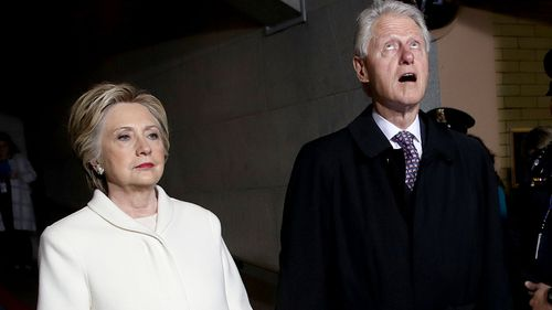 Hillary and Bill Clinton arrive at the Capitol. (AAP)