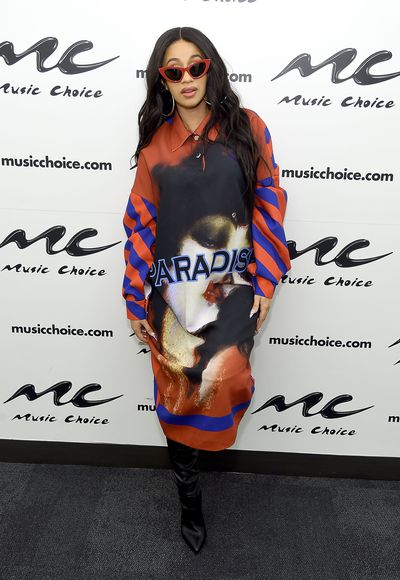 Cardi B at  Music Choice in New York on April 10, 2018