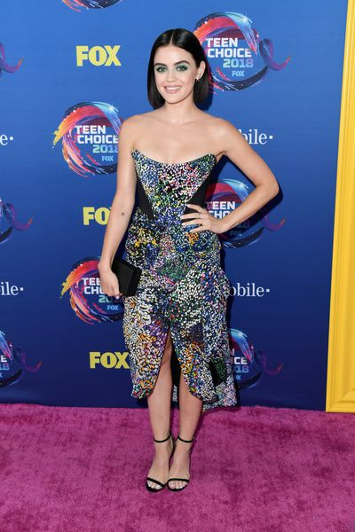 <em>Pretty Little Liars</em> star Lucy Hale at FOX's Teen Choice Awards in California, August, 2018&nbsp;