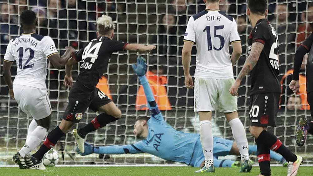 Kevin Kampl scores the winner against Tottenham in the UCL. (AAP)