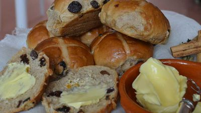 "<p>Brisbane might just have struck gold with this one - <a href=""http://www.cakeandbake.co/"" target=""_top"" draggable=""false""><strong>Cake &amp; Bake's</strong></a> hot cross buns are now available fresh out of the oven daily, baked on site, AND delivered to your desk complete with Pepe Saya butter. Now that sounds like an Easter treat.<br> But this is what makes them really special, the bun spice is a blend the team makes in-house, the glaze is a mix of whole spice pods and citrus and the buns  contain <em>only Australian dried fruits, </em>which makes them a winner.</p> <p>RRP - 1 dozen delivered with Pepe Saya butter $36 (Brisbane only)</p> <p>&nbsp;</p>"
