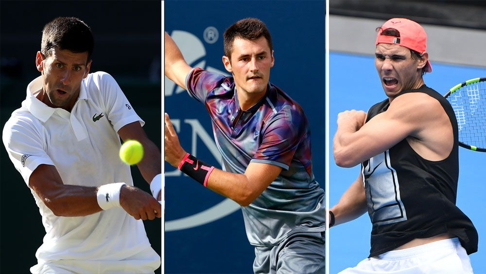 Novak Djokovic, Bernard Tomic and Rafael Nadal.