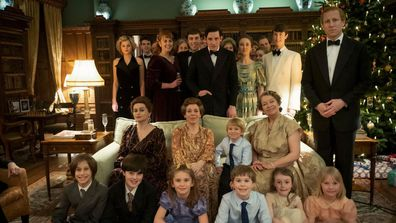A scene in The Crown showing the Royal Family at Christmas in Sandringham