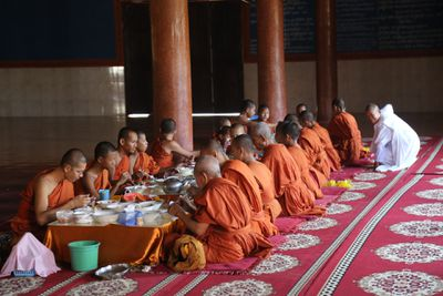 Monks still live and worship around the Angkor Wat area.