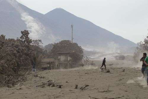 Deadly smoke and ash continues to roll down from the erupting volcano. Picture: AAP