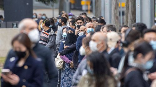 Long lines of people were also seen at the NSW Vaccination Centre in Homebush on July 01, 2021 in Sydney, Australia. The hub administered a whopping 7,057 doses yesterday.