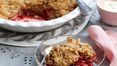 """Recipe:<a href=""""http://kitchen.nine.com.au/2016/05/05/16/17/pear-and-raspberry-crumble"""" target=""""_top"""">Pear and raspberry crumble</a>"""