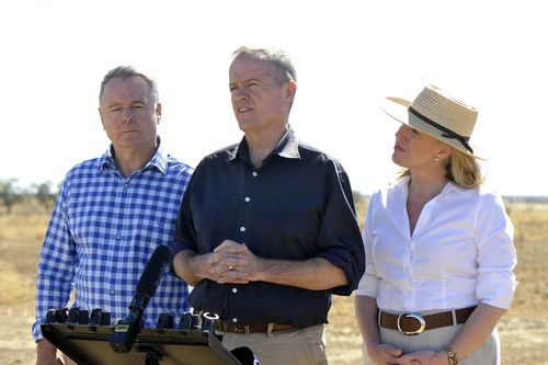 """Bill Shorten, who was in Longreach in Queensland today, said the Labor MP was making a """"very principled decision"""". Picture: AAP"""