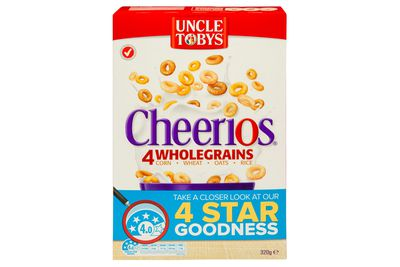 Uncle Tobys Cheerios Wholegrain: just over 1 teaspoon of sugar