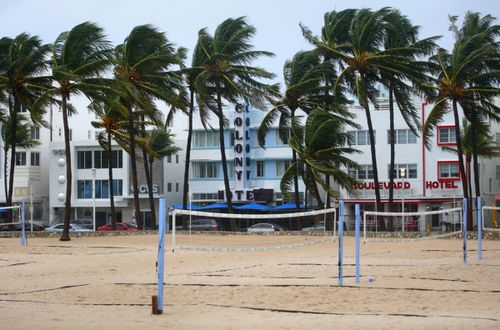 Usually busy volleyball courts at Lummus beach have been emptied by the storm.