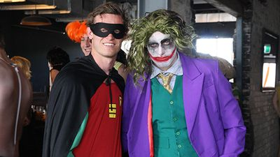 "<span class=""Apple-tab-span"" style=""white-space: pre;"">Foes Robin and the Joker seemed to get along at the Brisbane Lions' Wacky Wednesday celebrations. (Brisbane Lions)</span>"