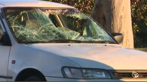 The white Toyota's windscreen was completely smashed in. Image: 9News