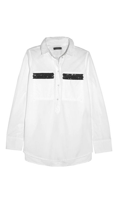 "<p><a href=""http://www.net-a-porter.com/au/en/product/486427"" target=""_blank"">Embellished Cotton Shirt, $148.64, J.Crew</a></p>"