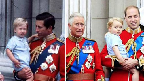 Prince William in Prince Charles' arms in 1984 (left) and Prince George with Prince William today. (Supplied)