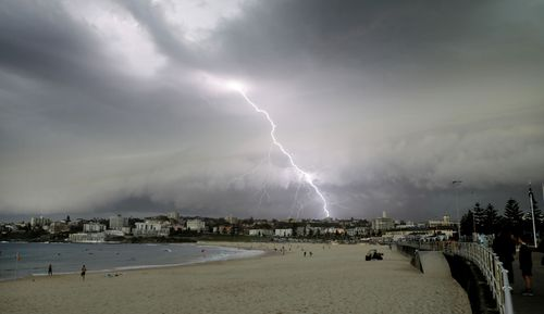 The rumbling of thunder could be heard across New South Wales, as heavy rain, damaging winds and lightning lashed the state from around 6pm on Saturday.