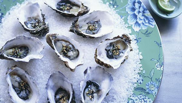 Oysters with wasabi nori and lime dressing