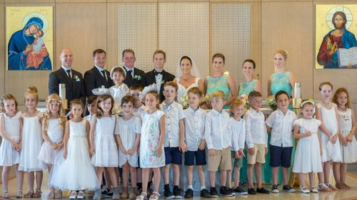 The teacher had all 22 of her students at her wedding. Picture: Supplied