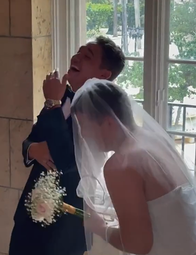 Groom shocked after unexpected guest appears for 'first look' at the bride