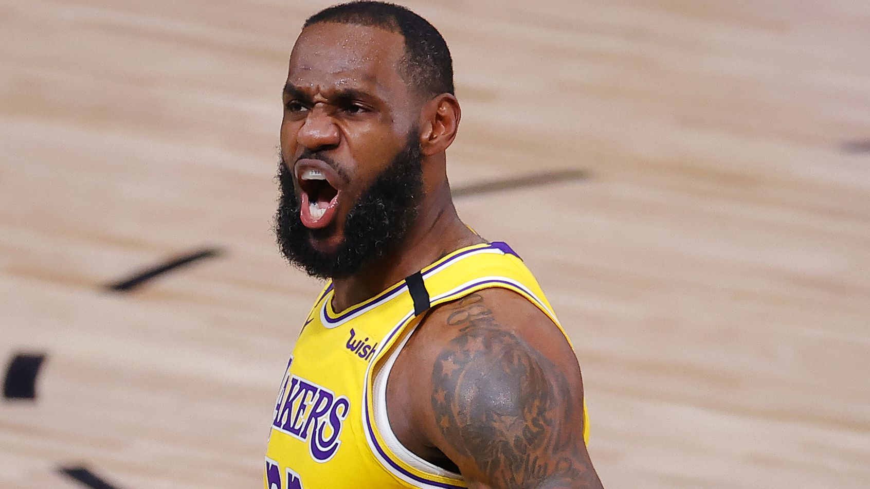 LeBron James of the Los Angeles Lakers reacts after a dunk.