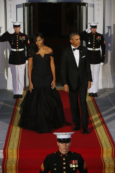 Michelle Obama in Vera Wang for a state visit by Chinese President Xi Jinping