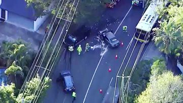 Police are this morning searching for a man after he reportedly ran from a two-vehicle crash in Brisbane's west.