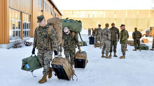 Around 300 US Marines have landed in Norway. This is the first time that foreign troops have been allowed to be stationed here since World War Two. Source: AFP