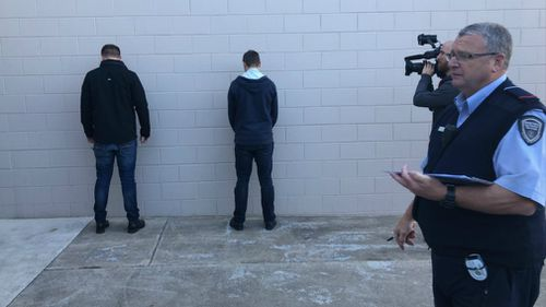 New inmates are checked over before entering the prison. Picture: 9NEWS