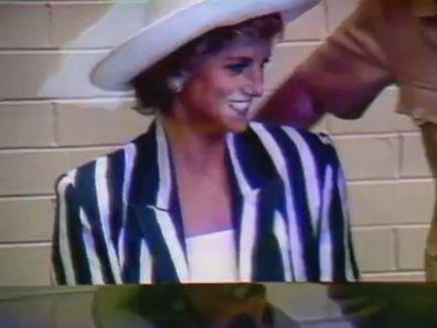 Princess Diana plays piano during 1988 Australia tour