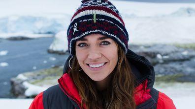 Model Laura Wells in Antarctica