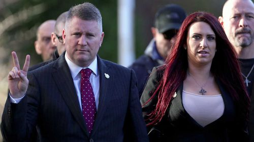 Paul Golding (left) and Jayda Fransen, leader and deputy leader of far-right group Britain First. (AAP)