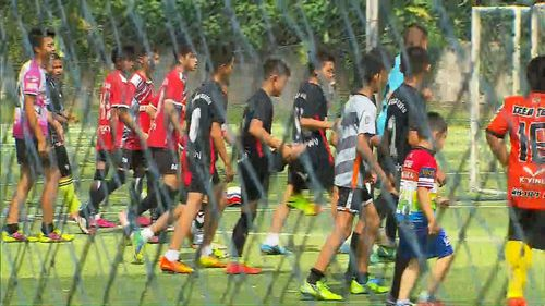 The Wild Boars' senior teams were back in training today. Picture: 9NEWS