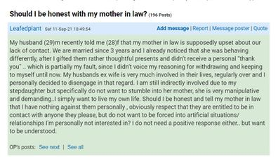 The new wife has explained the difficult situation on the forum.