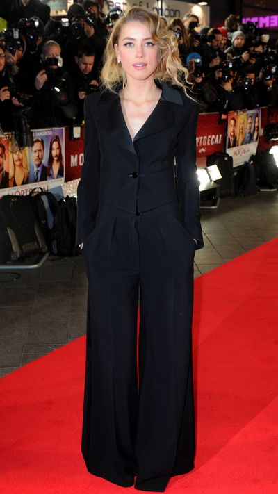 <p>In a wide-legged suit for the London premiere of 'Mortdecai'.</p>
