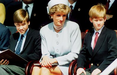 Princess Diana with Prince William and Prince Harry.