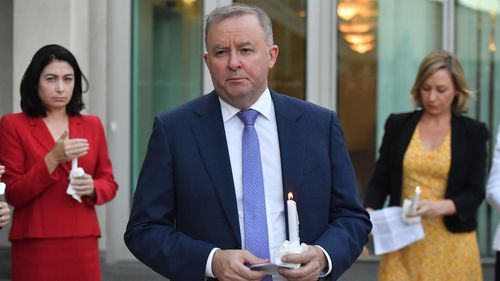Leader of the Opposition Anthony Albanese speaks at a candlelight vigil by parliamentarians, for domestic violence murder victim Hannah Clarke and her children, at Parliament House in Canberra, Wednesday, February 26, 2020.