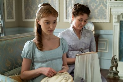 Phoebe Dynevor in a scene from new Netflix period drama Bridgerton