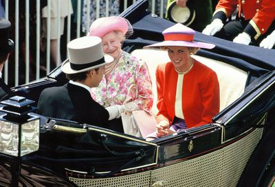 Princess Diana and the Queen Mother at Royal Ascot 1990