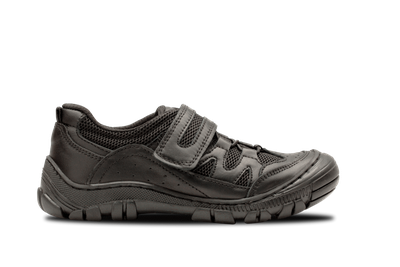 """<p>School shoes come in all styles these days. Check your school's requirements - it may be they allow a more casual shoe such as this one.</p> <p><a href=""""https://skobishoes.com.au/collections/skobi-sport/products/lewis"""" target=""""_blank"""">Skobi Lewis in Black, $134.95.</a></p>"""
