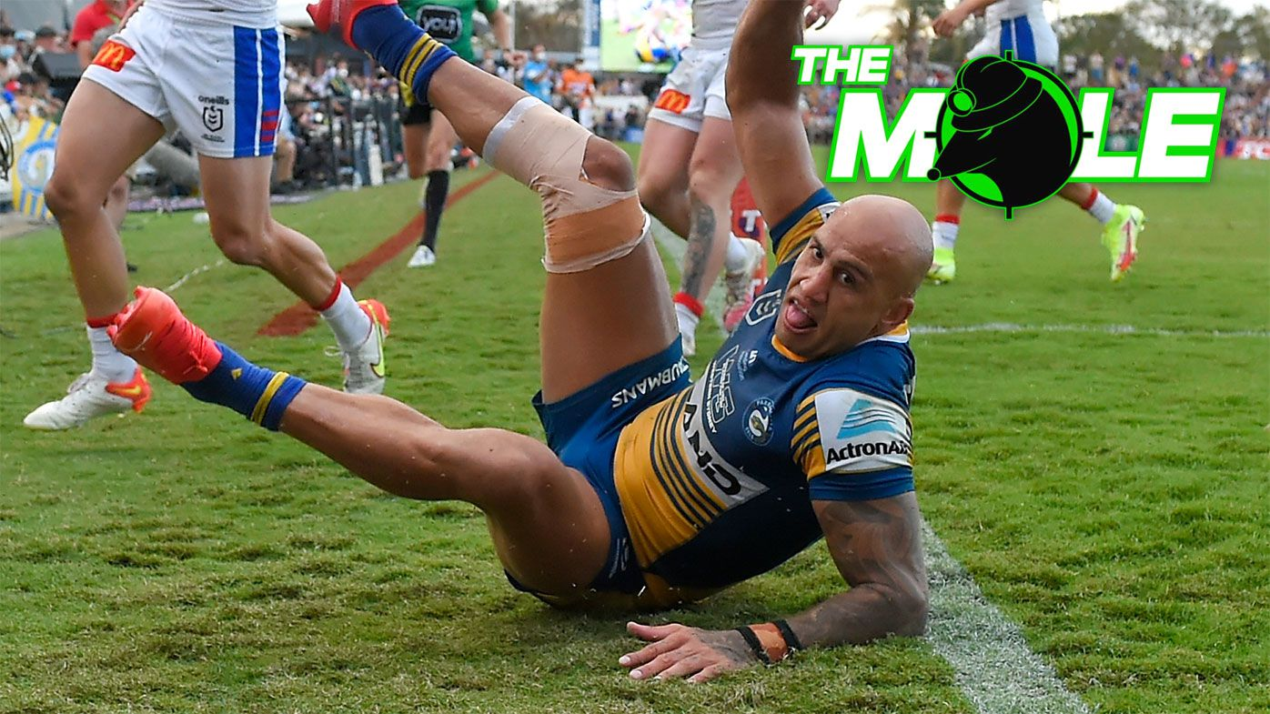 Blake Ferguson celebrates a try against the Knights in their final.
