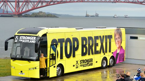 Scotland's First Minster Nicola Sturgeon MSP, poses as the SNP kick off the UK General Election Campaign Bus Tour on December 5, 2019 in South Queensferry, Scotland