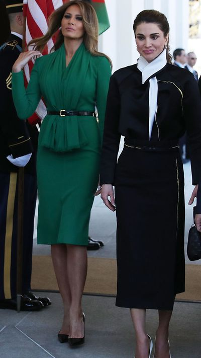 <p>On the heels of an official portrait that looked like an unofficial tribute to '90s shopping centre photography, Melania Trump took a step up in the style stakes to greet royalty.</p> <p> Melania was meeting Queen Rania of Jordan, a regular on the International Best Dressed Lists, so brought her A-game in a green dress that payed homage to the Jordanian flag. Green is often referred to as a favourite of Mohammed and the colour features prominently in Islamic architecture.</p> <p> The glamorous, cinched dress, toned down for a visit to the Excel Academy in Washington DC, was designed by Herve Pierre. Herve, the former creative director at Carolina Herrera, has already collaborated with Melania on her white inaugural gown.</p> <p> </p>