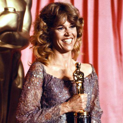 Jane Fonda with her Academy Award, 1979.
