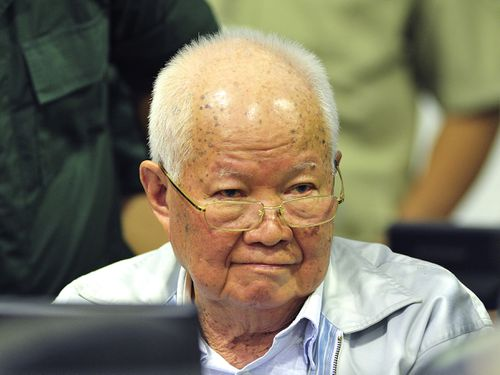 Khieu Samphan, former Khmer Rouge head of state, sat in court as the guilty verdict was read over the 1970s mass killings.