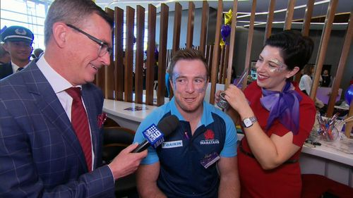Waratah's Jed Holloway flew back from South Africa for today's celebrations. Picture: 9NEWS