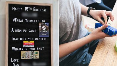 Left - image of a Kmart DIY Letterboard holding giftcards, one  from Smokemart. Right - a teenage boy opening presents