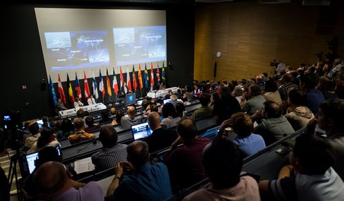 A view during a press conference of the European Southern Observatory (ESO) in Garching near Munich, Bavaria, Germany. (AAP)