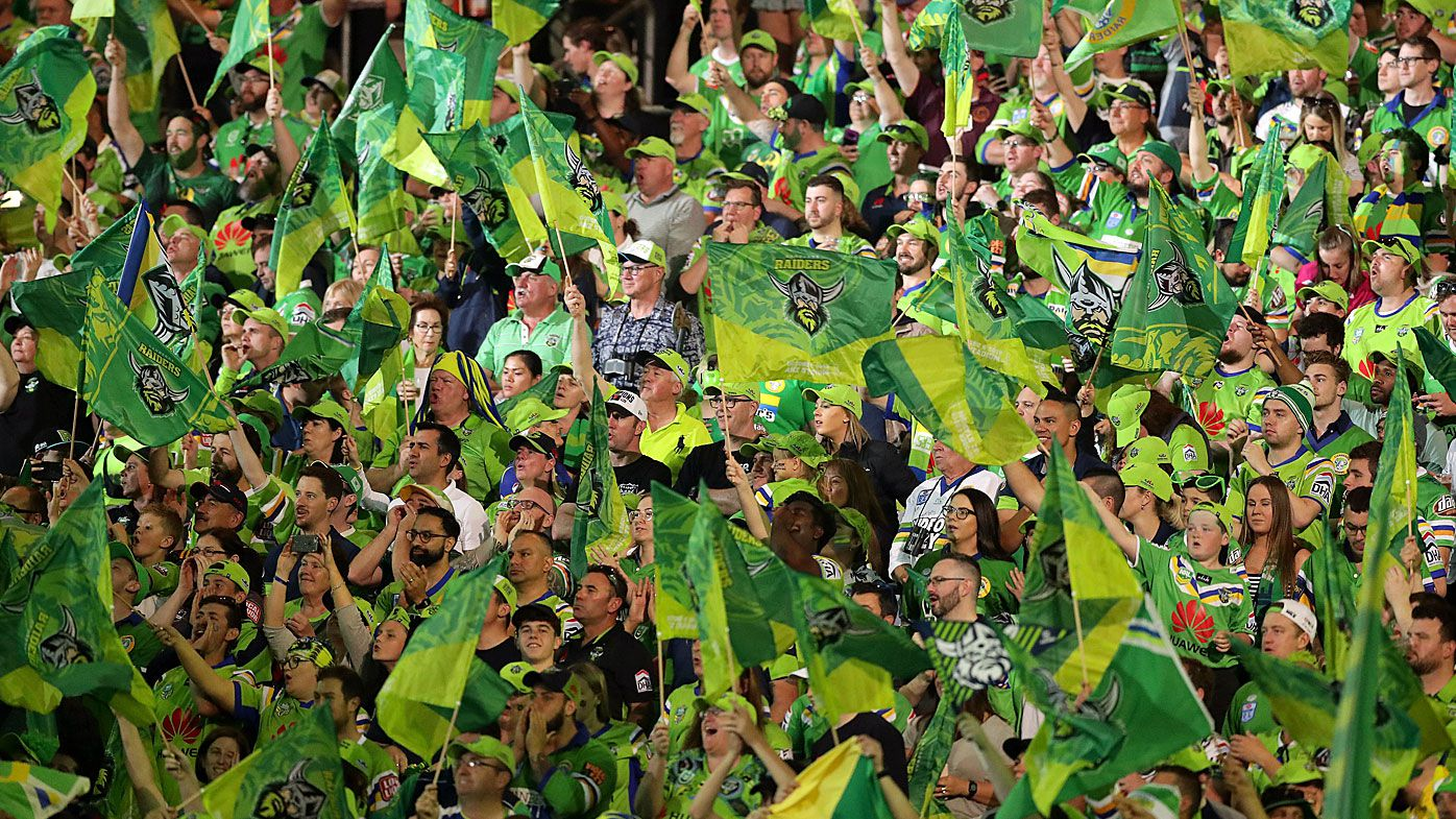 Raiders fans show their support before the 2019 NRL Grand Final