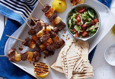 Lamb and haloumi kebabs